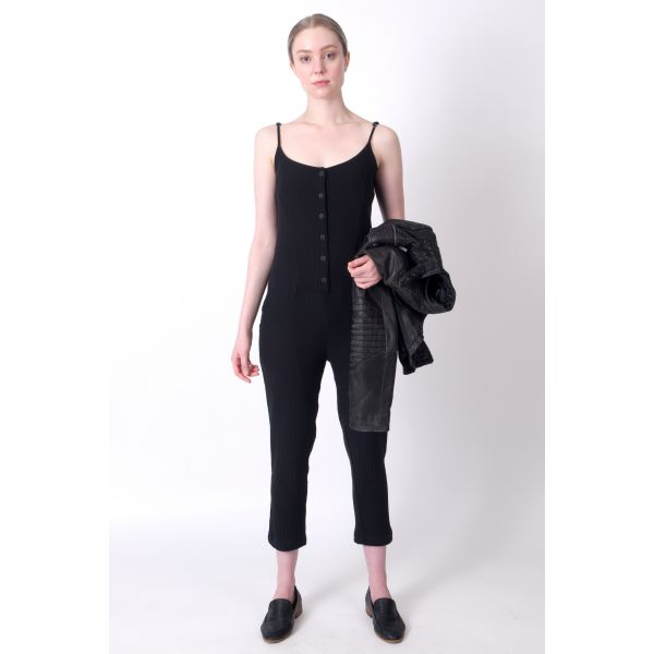 100% Cotton Jumpsuit in Black. Made in Canada. The Black Layer Clementine Jumpsuit.