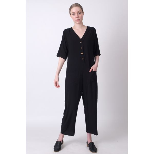 Spring & Summer Jumpsuit. The Black Layer Tessa Playdate Jumpsuit, in Black. Made in USA.