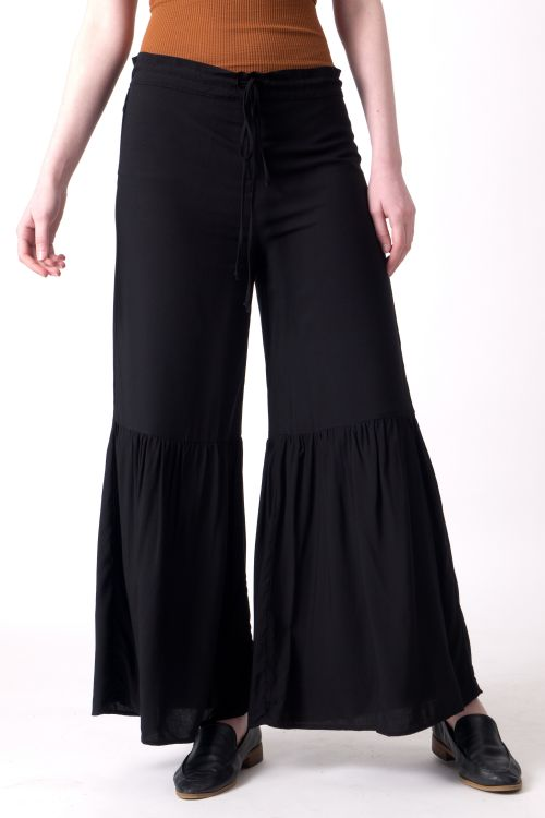 Boho Pants. The Black Layer Cher Bells. Pants in Black. Made in USA.