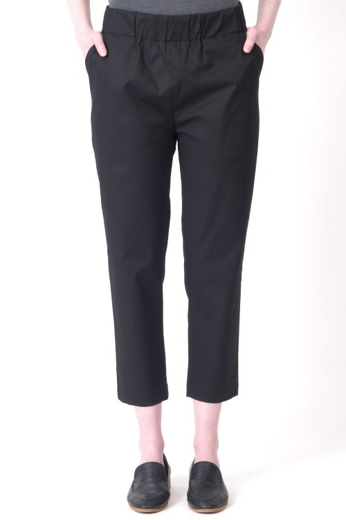Black cotton pants to wear to work, to school, dinner, or art class. Sturdy, capsule piece for daily use.